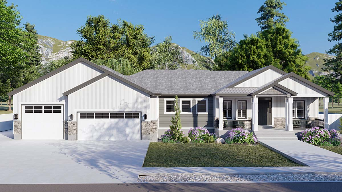 Craftsman, Ranch, Traditional Plan with 5710 Sq. Ft., 6 Bedrooms, 5 Bathrooms, 3 Car Garage Elevation