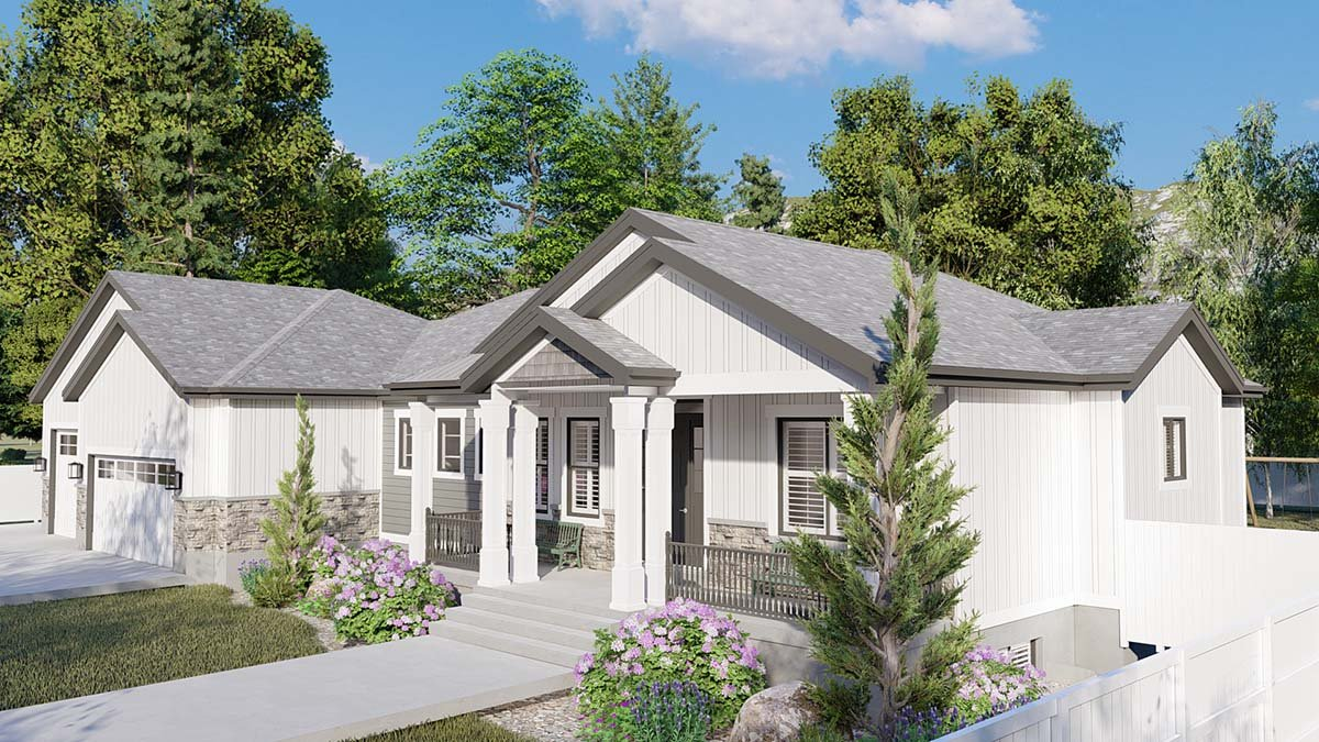 Craftsman, Ranch, Traditional Plan with 5710 Sq. Ft., 6 Bedrooms, 5 Bathrooms, 3 Car Garage Picture 2