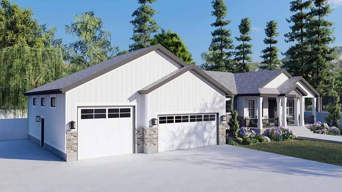 Craftsman, Ranch, Traditional Plan with 5710 Sq. Ft., 6 Bedrooms, 5 Bathrooms, 3 Car Garage Picture 3