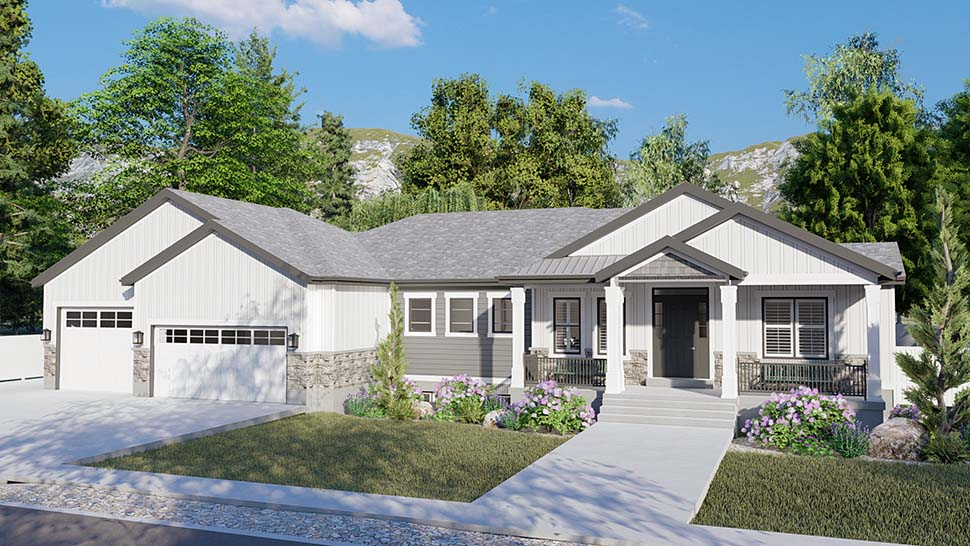 Craftsman, Ranch, Traditional Plan with 5710 Sq. Ft., 6 Bedrooms, 5 Bathrooms, 3 Car Garage Picture 4