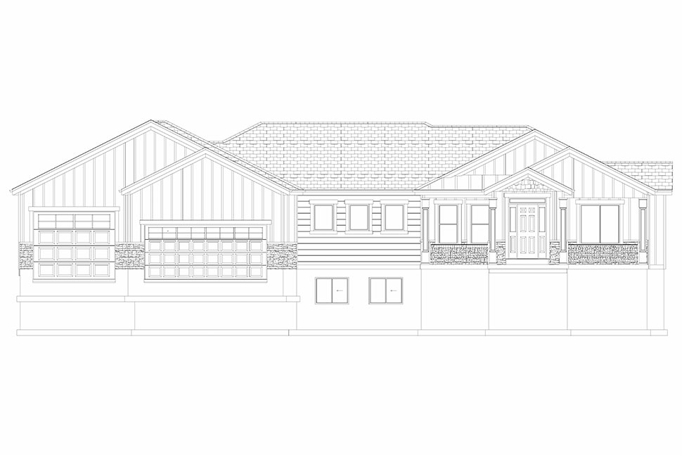 Craftsman, Ranch, Traditional Plan with 5710 Sq. Ft., 6 Bedrooms, 5 Bathrooms, 3 Car Garage Picture 33