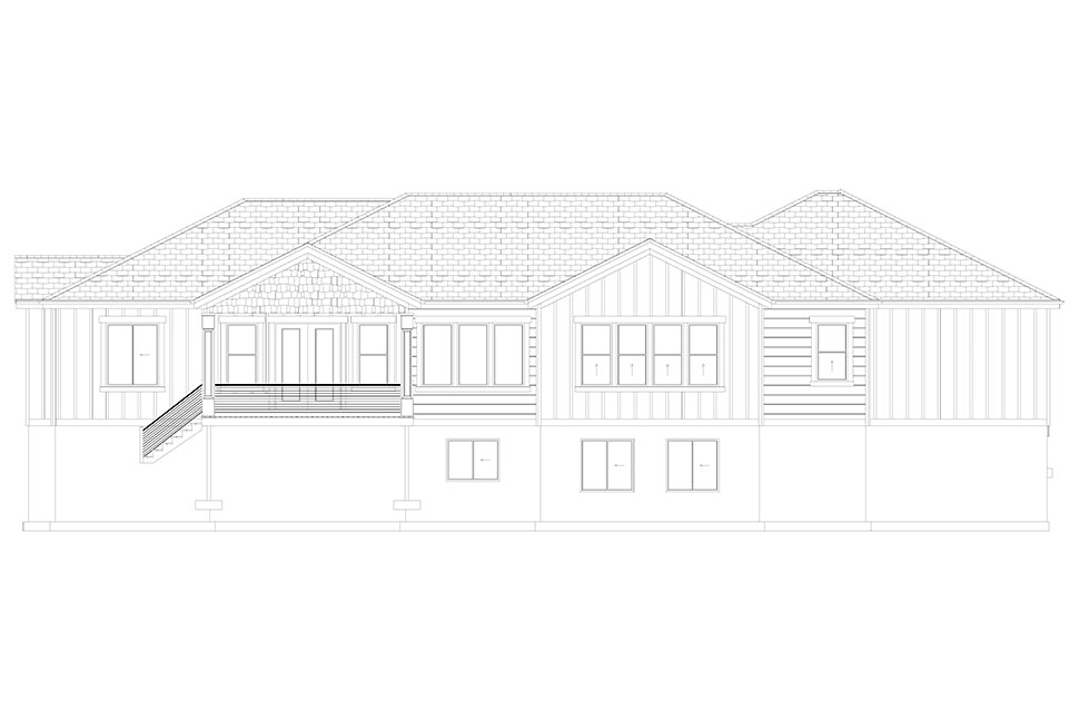 Craftsman, Ranch, Traditional Plan with 5710 Sq. Ft., 6 Bedrooms, 5 Bathrooms, 3 Car Garage Picture 36