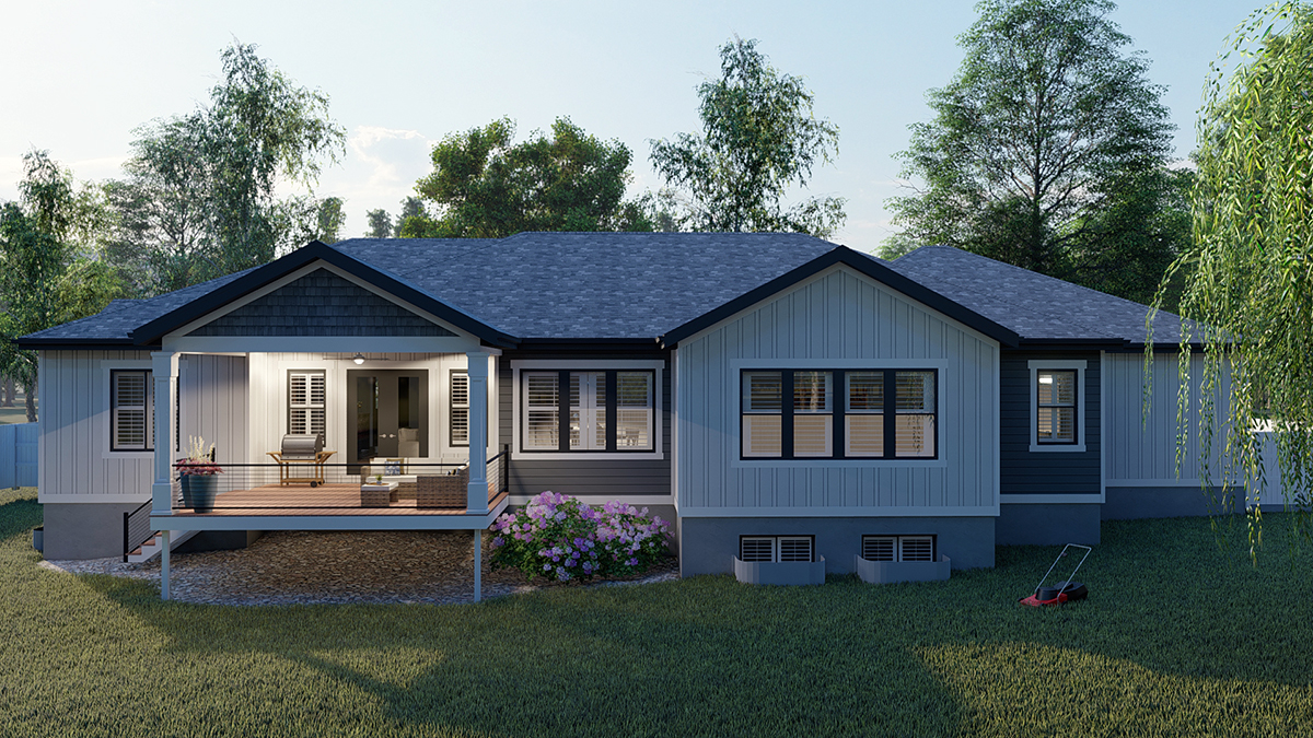 Craftsman, Ranch, Traditional Plan with 5710 Sq. Ft., 6 Bedrooms, 5 Bathrooms, 3 Car Garage Rear Elevation