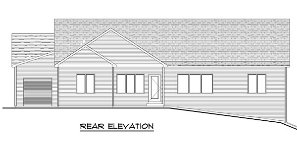 Craftsman Ranch Traditional House Plan 50631 Rear Elevation