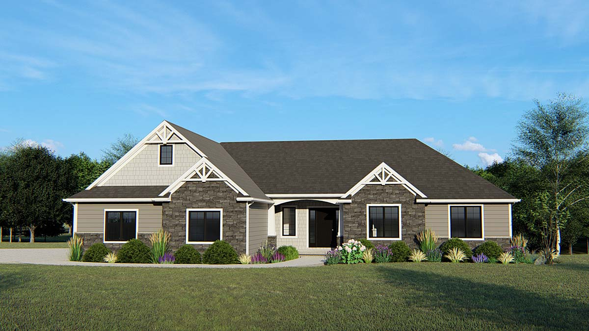 Craftsman, Ranch, Traditional House Plan 50641 with 3 Beds, 2 Baths, 3 Car Garage Elevation