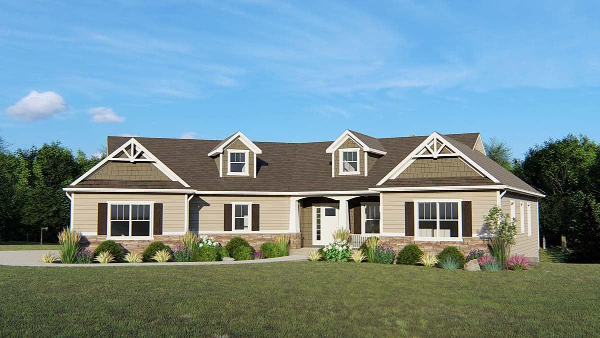 Craftsman Ranch House Plan 50647 Elevation