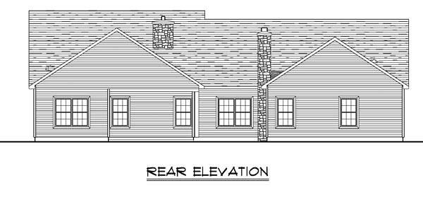 Country Craftsman Ranch Traditional House Plan 50650 Rear Elevation