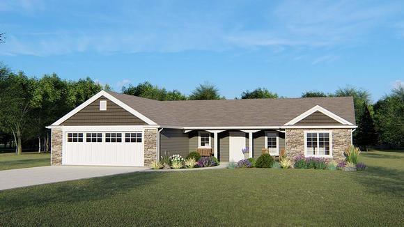 Craftsman, Ranch House Plan 50651 with 3 Beds, 3 Baths, 2 Car Garage Elevation