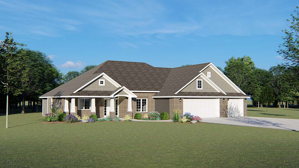 Ranch, Traditional House Plan 50693 with 3 Beds, 3 Baths, 3 Car Garage Elevation
