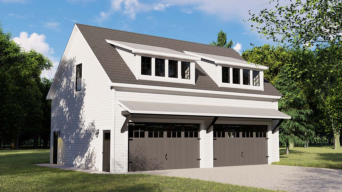 . Contemporary Style 3 Car Garage Apartment Plan Number 50707 with 1 Bed  1  Bath