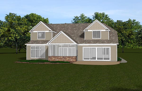 Colonial European Southern House Plan 50711 Rear Elevation