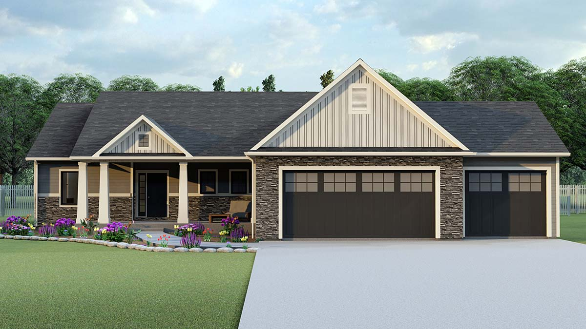 House Plan 50719 Ranch Style With 1827 Sq Ft 3 Bed 2 Bath