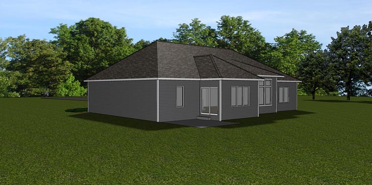 Country Craftsman Ranch House Plan 50735 Rear Elevation