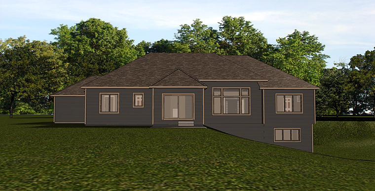 Craftsman Ranch House Plan 50737 Rear Elevation