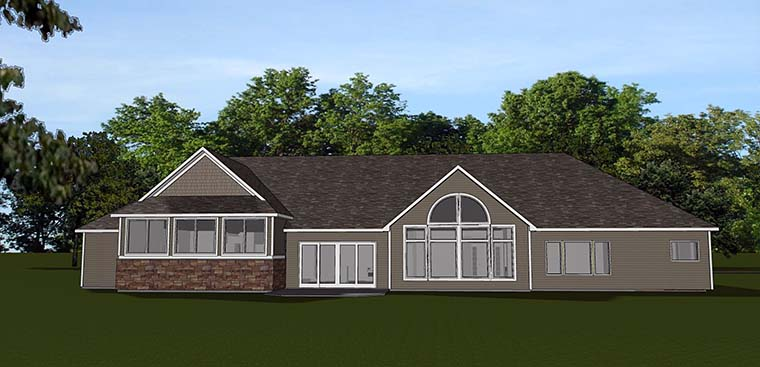 Ranch Traditional House Plan 50740 Rear Elevation