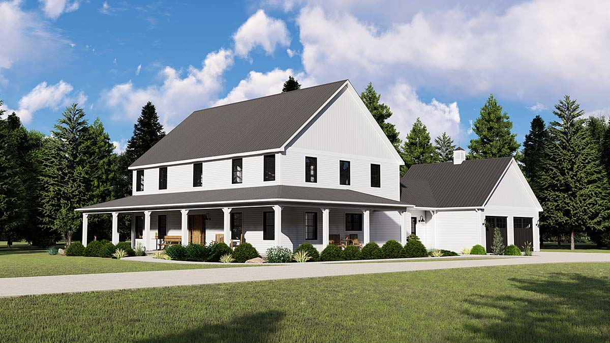 Country Farmhouse Southern Traditional House Plan 50753 Elevation