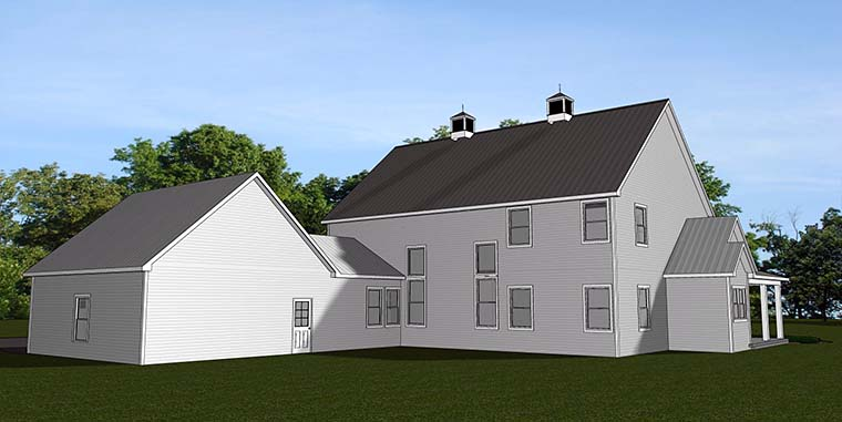 Country Farmhouse Southern Traditional House Plan 50753 Rear Elevation