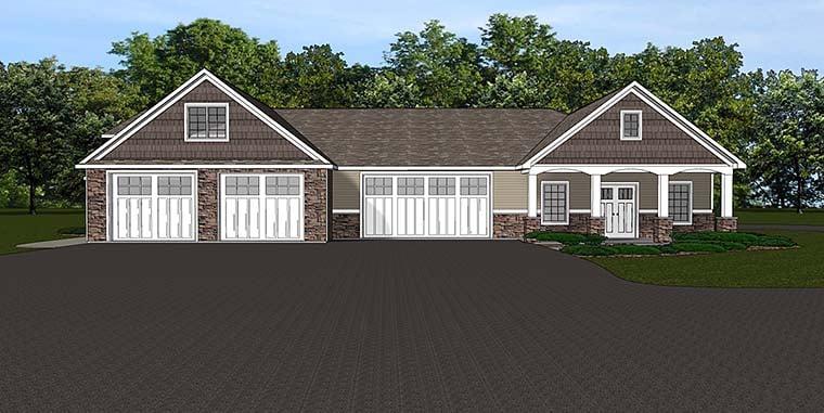 Traditional 4 Car Garage Apartment Plan 50763 Elevation