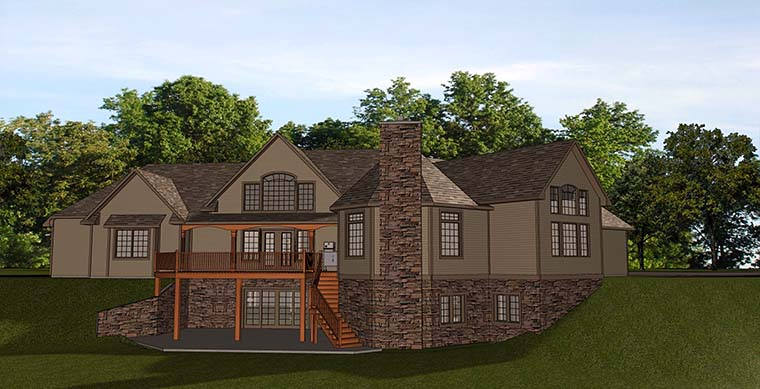 Bungalow Cottage Country Craftsman House Plan 50764 Rear Elevation