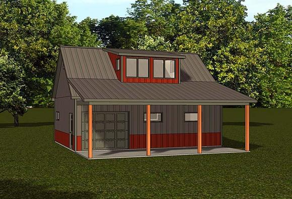 Country, Farmhouse 1 Car Garage Apartment Plan 50787 Elevation