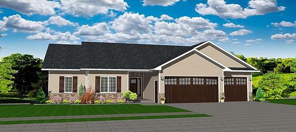 Ranch, Traditional House Plan 50912 with 3 Beds, 3 Baths, 3 Car Garage Elevation