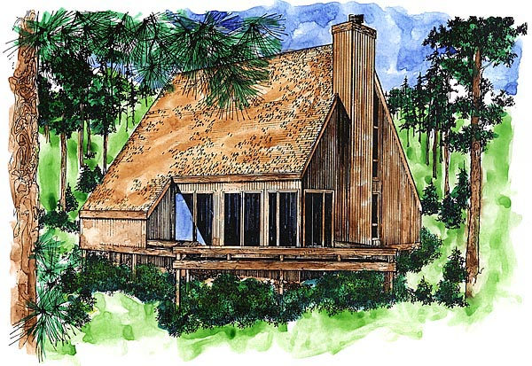 A-Frame House Plan 51028 with 2 Beds, 2 Baths Elevation