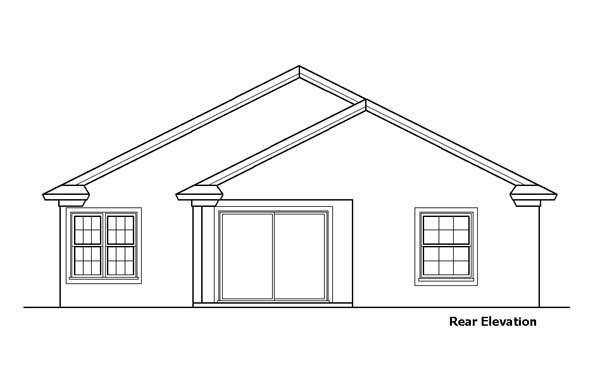 Rear Elevation of Southwest   House Plan 51151