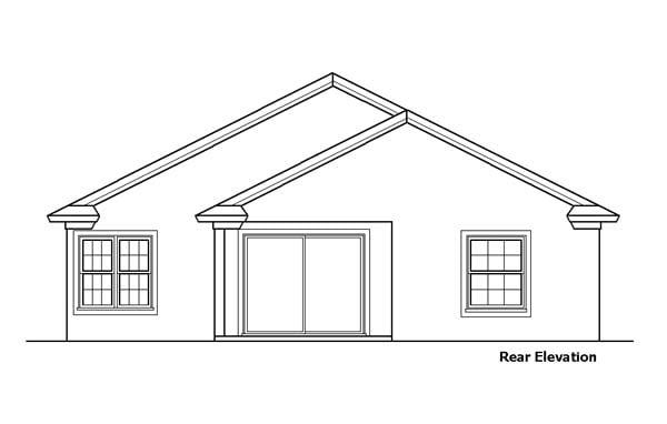 Rear Elevation of Southwest   House Plan 51151