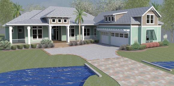 Coastal, Cottage, Country, Florida, Ranch, Southern, Traditional House Plan 51220 with 4 Beds, 4 Baths, 3 Car Garage Elevation