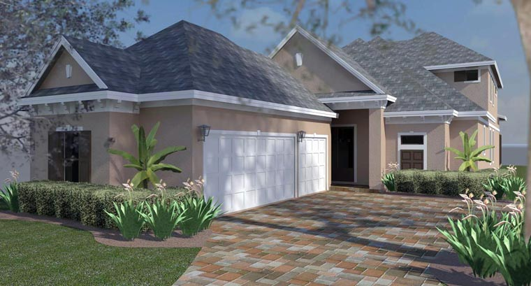 Florida, Southern, Traditional House Plan 51221 with 3 Beds, 3 Baths, 3 Car Garage Elevation