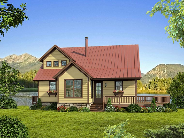 Cabin, Cottage, Country, Southern House Plan 51421 with 2 Beds, 2 Baths Elevation