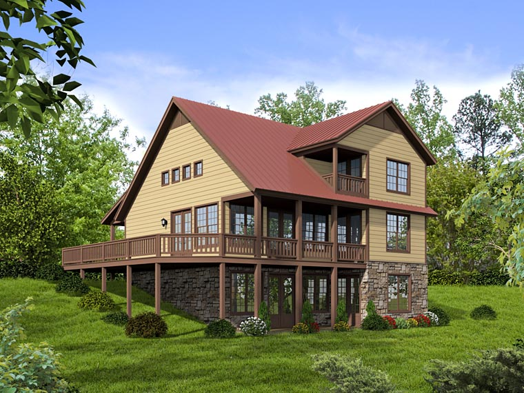 Cabin, Cottage, Country, Southern House Plan 51421 with 2 Beds, 2 Baths Rear Elevation