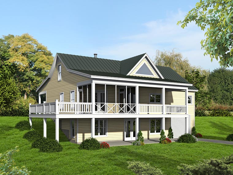Country Craftsman Ranch Traditional House Plan 51422 Rear Elevation
