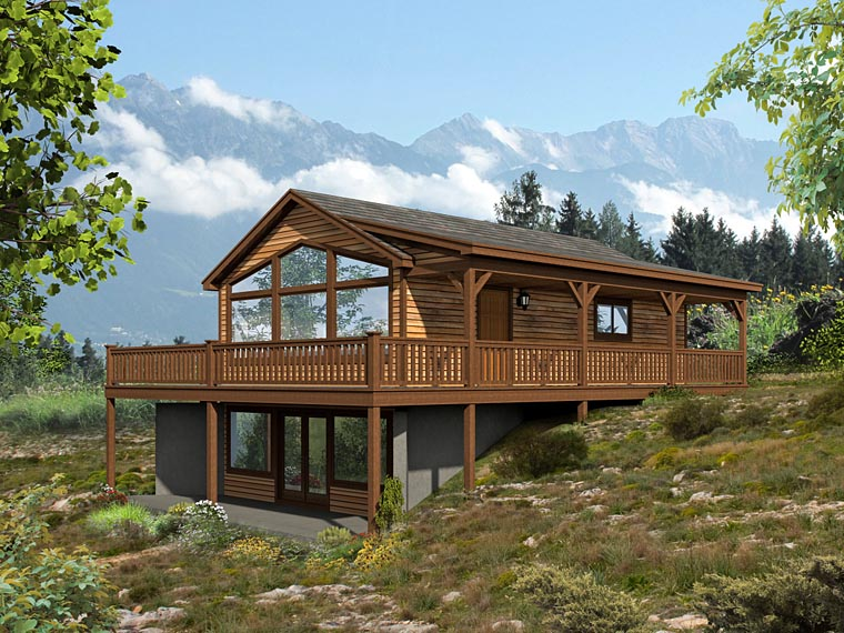 Cabin Contemporary Country House Plan 51427 Elevation