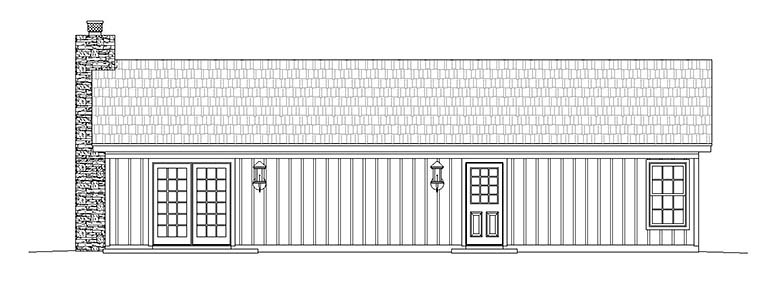 Cabin Ranch House Plan 51429 Rear Elevation