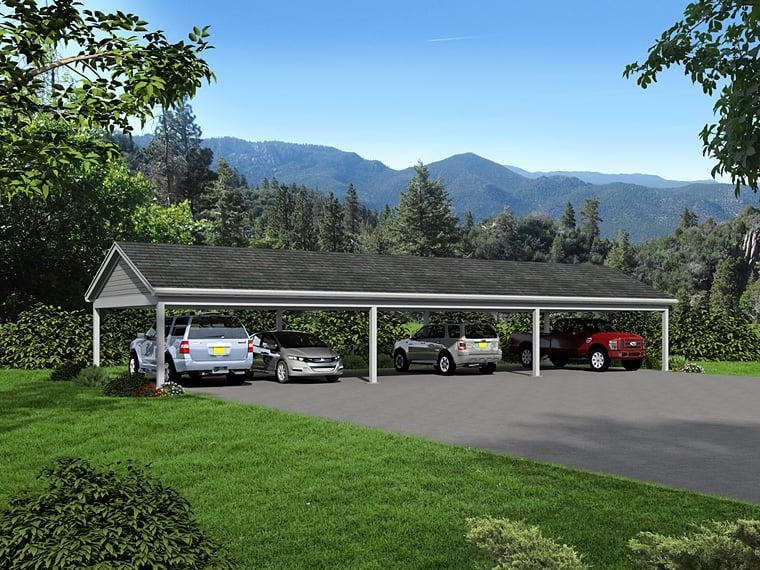 6 Car Garage Plan 51453 Elevation