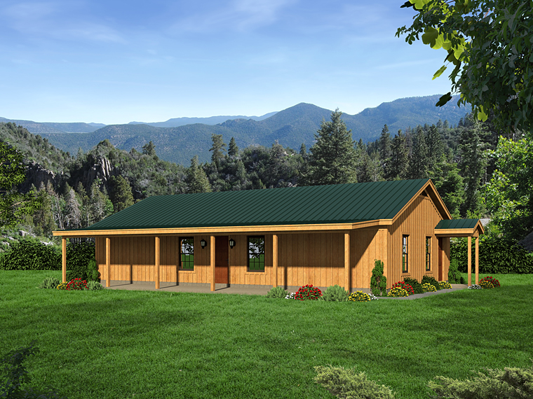 Cabin Country Ranch Southern House Plan 51456 Elevation