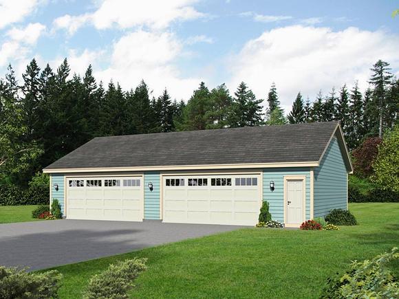 4 Car Garage Plan 51465 Elevation