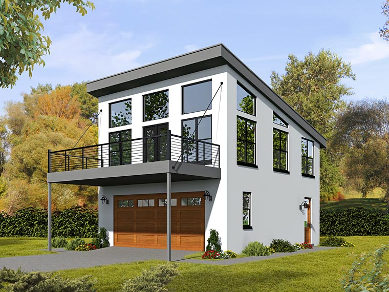 Contemporary, Modern Garage-Living Plan 51479 with 1 Beds, 1 Baths, 2 Car Garage Elevation