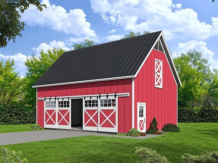 Country 4 Car Garage Plan 51480 Elevation