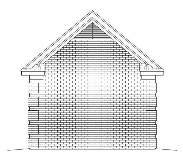1 Car Garage Plan 51500 Rear Elevation