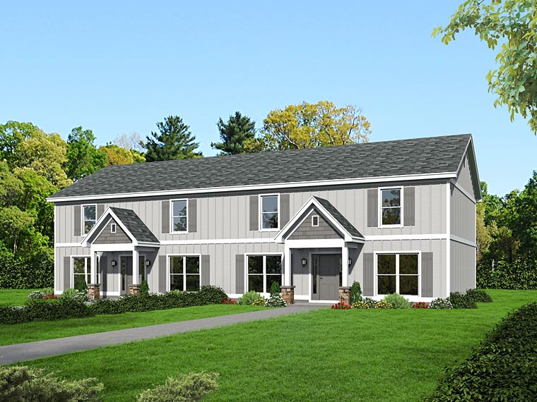 Traditional Multi-Family Plan 51508 Elevation