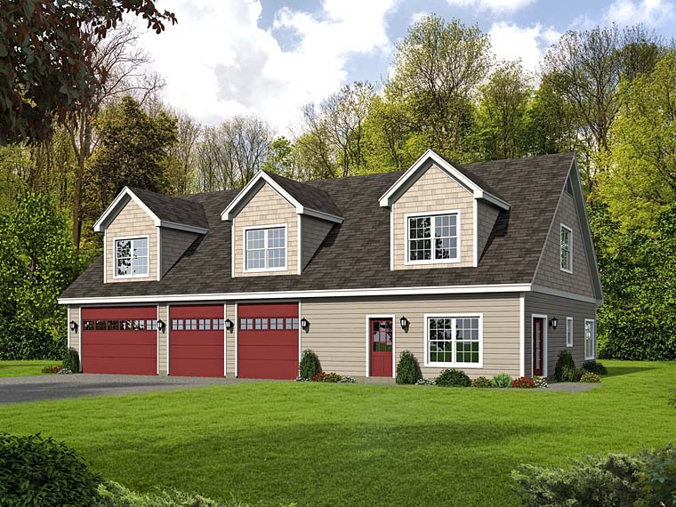 4 Car Garage Apartment Plan Number 51518 with 1 Bed, 2 Bath