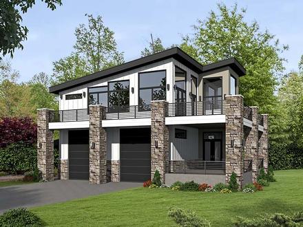 Contemporary, Modern Garage-Living Plan 51522 with 1 Beds, 1 Baths, 2 Car Garage