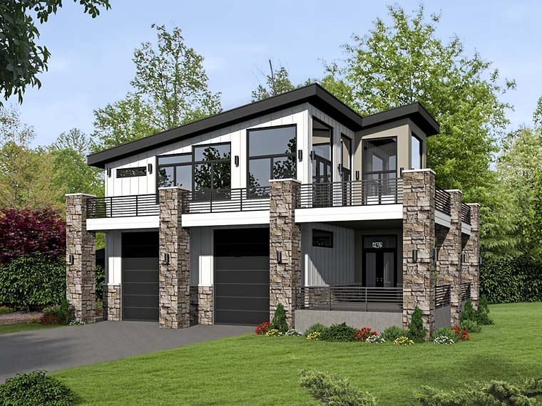 Modern Style 2 Car Garage Apartment Plan Number 51522 with 1 Bed, 1 Bath