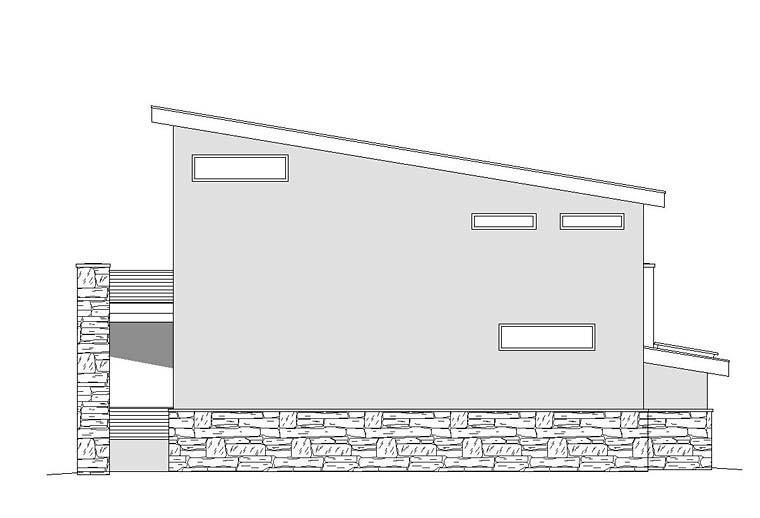Contemporary, Modern Garage-Living Plan 51522 with 1 Beds, 1 Baths, 2 Car Garage Rear Elevation