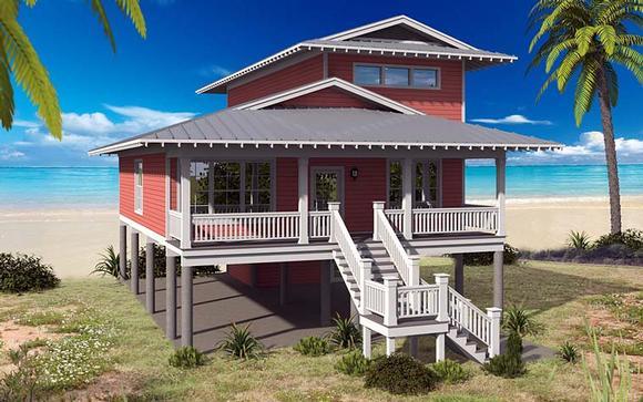Coastal House Plan 51528 with 4 Beds, 4 Baths Elevation