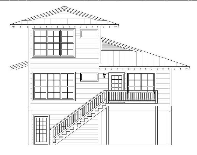 Coastal House Plan 51528 with 4 Beds, 4 Baths Rear Elevation