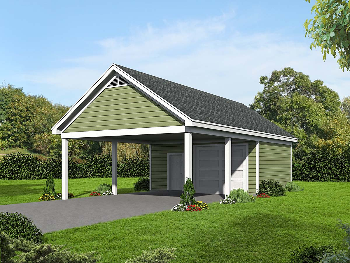 Garage plan 51536 for Carport workshop plans