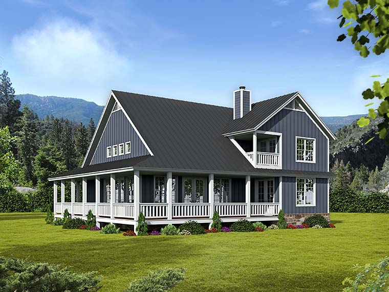 Cabin Country Southern Traditional House Plan 51542 Rear Elevation